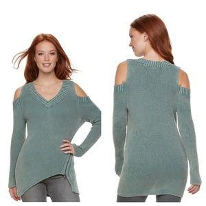 🛍️ V-Neck Cold Shoulder Sweater Tunic